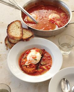 Tomato Soup with Poached Eggs:This hearty soup makes a satisfying meal at any time of year -- and the poached eggs are a valuable source of meatless protein, Wholeliving.com #vegetarian