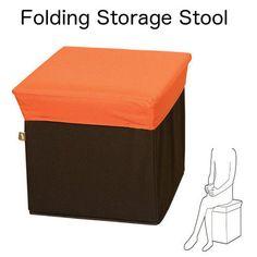 Folding Box Storage Stool Cube Ottoman Toy Store Kids Room Orange BLC-378OR JP  sc 1 st  Pinterest & Folding Box Storage Stool Cube Ottoman Toy Store Kids Room Orange ... islam-shia.org