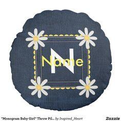 """""""Monogram Baby Girl"""" Throw Pillow Round Pillow"""