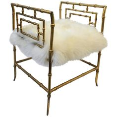 Gilded Faux Bamboo and Sheepskin Stool 1