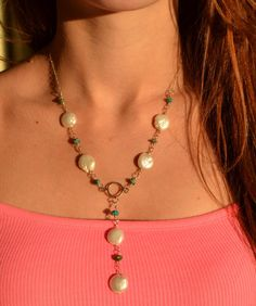 Sterling Silver & Turquoise Coin Pearl Y Necklace - Valentine by CopperfoxGemsJewelry on Etsy
