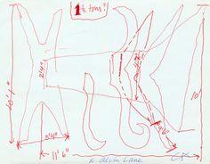 """etceterablog:  Alexander Calder Sketch for """"The X & Its Tails"""", 1967 ink on paper"""
