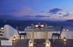 Dinner at Atrina is an entire journey to the senses, where romance overflows. Enjoy with your precious company and feel emotions like never before! Santorini Luxury Hotels, Santorini Greece, Santorini Holidays, Greece Food, Greece Travel, Romance, Journey, Dinner, Travelling