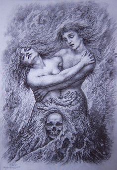 Johfra Bosschart - Two Women in Embrace with a Skull