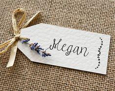 Rustic, Vintage, Lavender and Raffia Wedding Place Card Tag