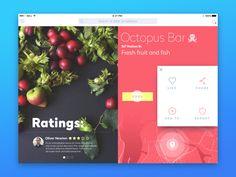 Creative Ui, Ux, Octopus, Bar, and Ipad image ideas & inspiration on Designspiration Best Ui Design, 2017 Design, Ui Ux Design, Design Trends, Dashboard Design, Graphic Design, Food Design, Design Ideas, Octopus Bar