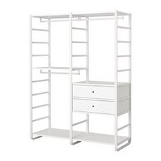 Decor your home with ELVARLI 2 section shelving unit, white. ELVARLI storage system adapts to your space. The open solution with durable bamboo shelves creates an attractive display of your belongings. Ikea Elvarli, Do It Yourself Design, Bamboo Shelf, Painted Drawers, Plastic Drawers, Clothes Rail, Phnom Penh, Closet Bedroom, Attic Closet