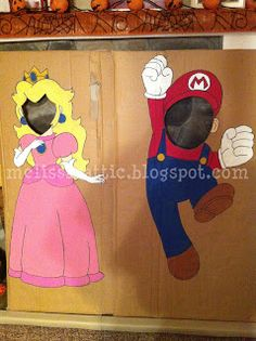 Melissa's Attic: Our Super Duper Super Mario Bros. Halloween! Part 2: Pumpkins and Peach and Mario put-your-face-in-and-take-a-picture things...