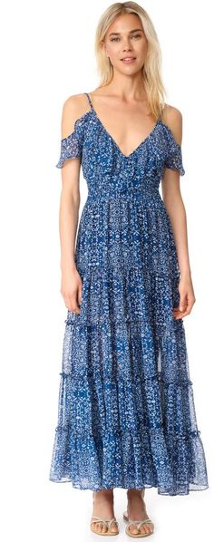 MISA Elodie Maxi Dress This graceful, floral chiffon MIS A maxi dress is trimmed with a ruffle at the V neckline