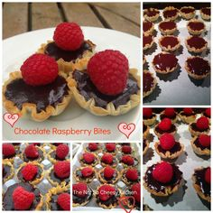 Individual Chocolate Raspberry Bites { and Dairy Free Recipes, Desert Recipes, Just Desserts, Cake Recipes, Raspberry, Sweet Treats, Cheesecake, Deserts, Creations