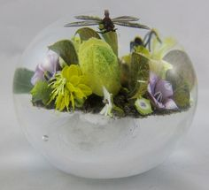 paul+stankard+paperweights | Paul Stankard Dragonfly Paperweight With Flowers, Soil, Roaming Ant ...
