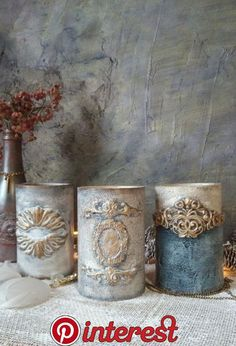 Clay Mold Appliques for Tin Can Planters: A Vintage Craft - Unique Balcony & Garden Decoration and Easy DIY Ideas Diy Furniture Appliques, Felt Flower Pillow, Creative Crafts, Diy Crafts, Antique Booth Ideas, Plaster Art, Tin Can Crafts, Iron Orchid Designs, Altered Bottles
