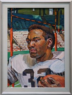 """Jim Brown"" James Nathaniel Brown,  born 17 Feb 1936, by Henry Koerner, Oil on canvas, 1965: It is little wonder that Cleveland Browns star fullback Jim Brown was sometimes likened to Superman. During his pro football career (1957-65), Brown's strength, speed, and agility made him all but unstoppable as he powered his way over, around, or through his opponents' defenses. As one lineman noted ruefully, the only way to tackle Brown was ""to hold on and wait for help."" Brown's versatility also…"