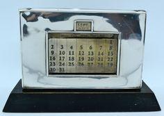 RARE Art Deco Solid Silver Desktop Perpetual Calendar W Myatt Co Birmingham 1934