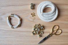 Afbeeldingsresultaat voor rope diy Bead Embroidery Jewelry, Beaded Embroidery, Diy Jewelry, Jewelery, Diy Ideas, Craft Ideas, Diy Fashion Accessories, Cool Diy Projects, Diy Clothing