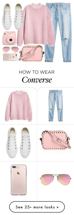 """Casual"" by monmondefou on Polyvore featuring Converse, Ray-Ban, Fujifilm and Pink"