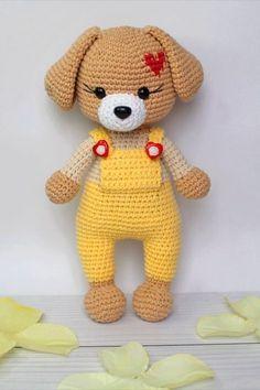 Crochet Teddy Bear Pattern, Crochet Animal Patterns, Dog Pattern, Stuffed Animal Patterns, Crochet Patterns Amigurumi, Crochet Animals, Crochet Dolls, Amigurumi Toys, Pet Toys