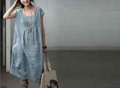 Loose Fitting Long Maxi Dress - Summer Dress in Blue  - (R) Sleeveless Linen Sundress for Women