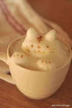 Latte art cat