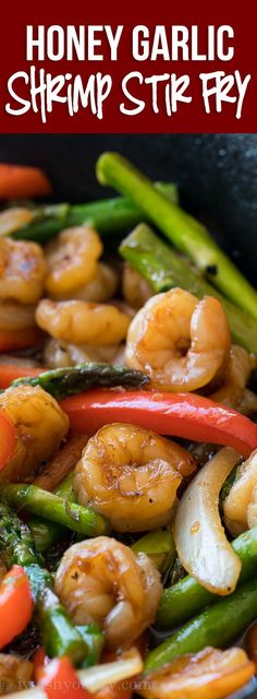 This quick and easy Honey Garlic Shrimp Stir Fry is filled with plump shrimp and fresh veggies in a simple and delicious honey garlic sauce! via @iwashyoudry @Landolakes #ad