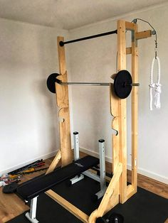 Home gym Fitness Home Gym Basement, Home Gym Garage, Gym Room At Home, Workout Room Home, Workout Rooms, Home Made Gym, Diy Home Gym, Diy Gym Equipment, No Equipment Workout
