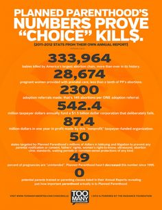 "TooManyAborted.com - ""CHOICE KILL$"" ... Abortion is today's preeminent human rights issue. ""Choice"" is a complete sham. Planned Parenthood's own Annual Reports reveal how staunchly pro-abortion they are. In 2011 they committed 333,964 abortions, while only serving 28,674 prenatal clients and making a measly 2300 adoption referrals. That's 145 abortions for every ONE adoption referral. They use $542.2 million of our tax dollars to destroy life, profiting by MILLIONS ($87.4 in 2011, to be…"