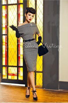 Le palais vintage retro pin up houndstooth pencil off shoulder dress