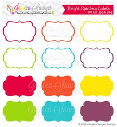 INSTANT DOWNLOAD, bright rainbow printable labels, rainbow digital frames, scrapbooking tags, printable rainbow party,  party labels