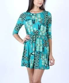 Love this Green Geometric Half-Sleeve Dress by Collective Rack on #zulily! #zulilyfinds