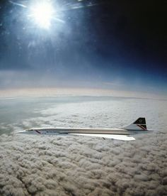 Concorde flying at Mach 2 taken by Adrian Meredith from an RAF Tornado attack fighter over the Irish Sea in April 1985.