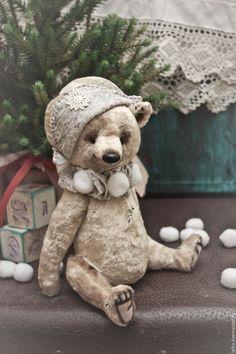 Купить Мишка из плюша - бежевый, мишка тедди, бежевый мишка, подарок на новый год, медведь тедди