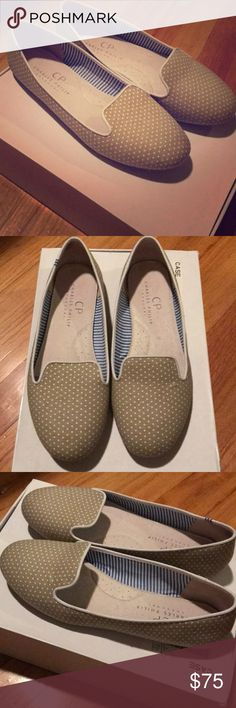 Anthropologie polka dot loafers by Charles Philip I love these, but my feet are too small! Have barely worn them, they are in great condition. Beautiful loafers with subtle white polka dots. Charles Philip Shanghai brand purchased from Anthropologie. Listing includes original box and shoe pillows/bag seen in pictures. Anthropologie Shoes Flats & Loafers