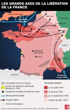 Les grands axes de la libération de la France.