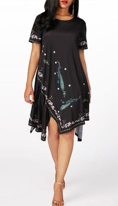 Asymmetric Hme Printed Short Sleeve Black Dress, higher quality and better service, free shipping worldwide and return 30 days without any reasons at www.rosewe.com, check it out.