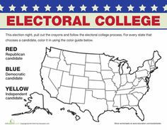 Worksheets: Electoral College Map, what a fun way to get kids involved. I just printed up about 10 more worksheets that will help Carly understand the election process & our government.   Education.com has sooooo many great free worksheets for kids! I use this daily & love it!!