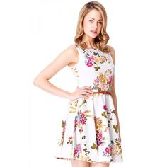 8b8754d43fc Cream Flower Print Skater Dress - Quiz Clothing Cream Flowers