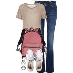 237. Beige Top & White Converse Outfit by kgarcia8427 on Polyvore featuring polyvore fashion style Samsøe & Samsøe Lee Converse Victoria's Secret Kendra Scott clothing