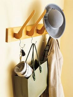 hangers reused to make a coat rack