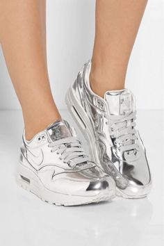 Shiny Silver Nike Air Max Sneakers Pictures 0192ac42904