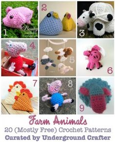 Farm Animals Crochet Pattern Roundup - 20 (mostly free) #crochet patterns, curated by @UCrafter