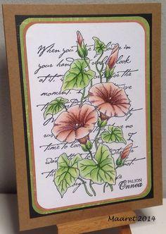 Kukilla onnitellen Leimakuva Chocolate Baroque - Flora and Fauna setistä, väritykset Polychromos kynillä.