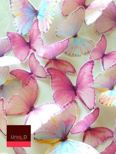 75 edible cake decoration - rainbow edible butterflies - wedding cake - decorative butterflies - pink butterflies by Uniqdots on Etsy