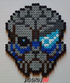 Garrus head mass effect hama beads by Sidorus00 H= 15 cm L= 15 cm