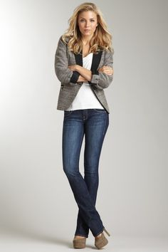 blazer or long cardigan + basic neutral layer + slim bootcuts + scarf/accessories + flats or heels