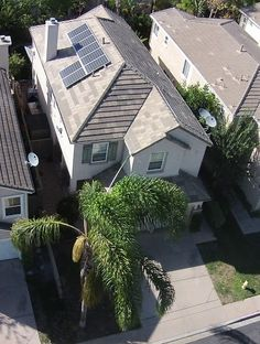 Cool aerial photo of a solar panel installation.