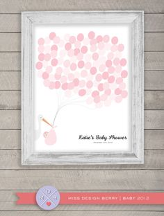 Baby shower guest book alternative Balloon by MissDesignBerry,@Danielle Earley-Stoyanoff.  Here is a take on the thumb print thing I was telling you about