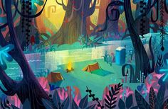 Concept art for Cloudy With A Chance Of Meatballs. Camping tents. Forest. Earl Scouts. Joey Chou