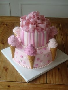 Adorable pink ice cream cone cake