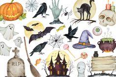 Happy Halloween. Watercolor. by Elena Medvedeva on Creative Market