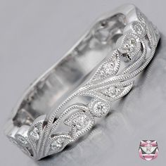 Diamond Wedding Band Art Nouveau - Special Order